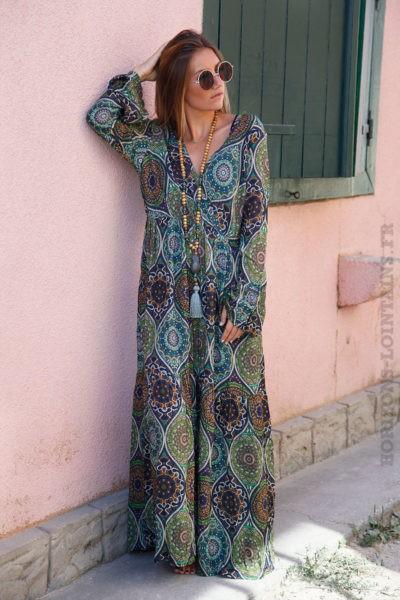 Robe-longue-imprimé-nuances-de-vert-B71