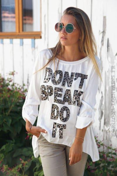 T-shirt blanc bi-matière satiné devant message