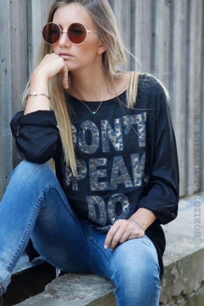 T-shirt noir bi-matière satiné devant message