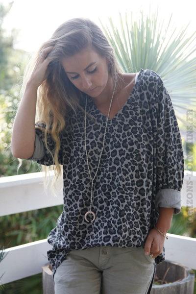 T-shirt-taupe-long-imprimé-léopard-b192