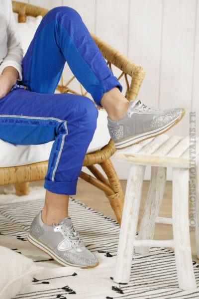 baskets grises argentées pailletées stylées running