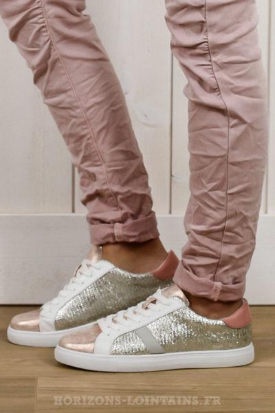 baskets roses argentées bande grise chaussures talon rose