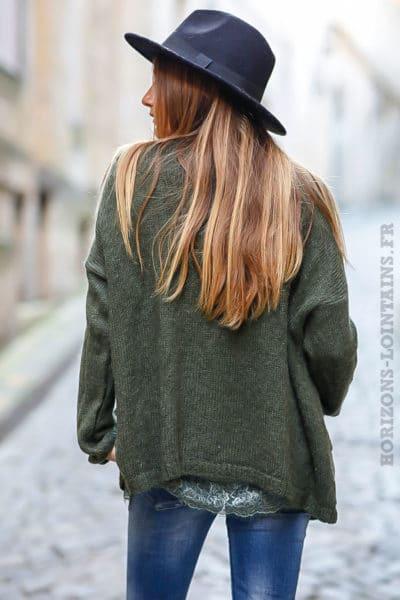 gilet vert kaki mailles chaudes vêtements femme chauds look moderne