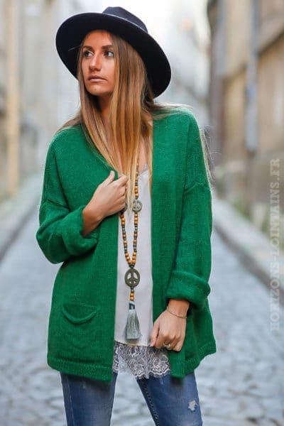 gilet vert mailles chaudes vêtements femme chauds look moderne