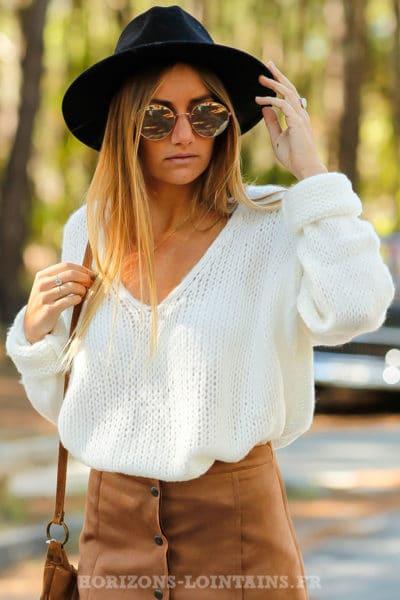 pull confortable grosses mailles femme couleur blanc cassé col v top 100