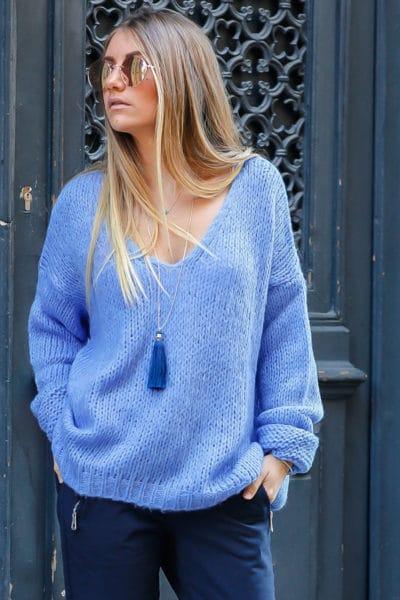 pull grosses mailles bleu lavande vêtement femme chaud hiver