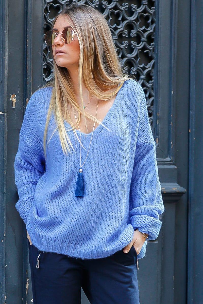 fe8246ecec86 pull grosses mailles bleu lavande vêtement femme chaud hiver