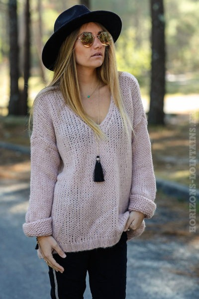 ee876b164ae pull-grosses-mailles-vêtements-femme-hiver-vieux-rose- ...