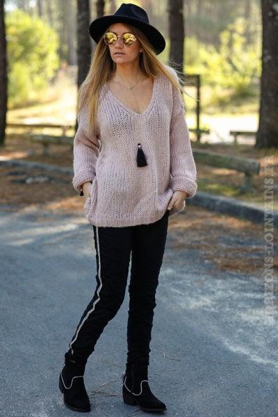 pull-grosses-mailles-vêtements-femme-hiver-vieux-rose-poudré