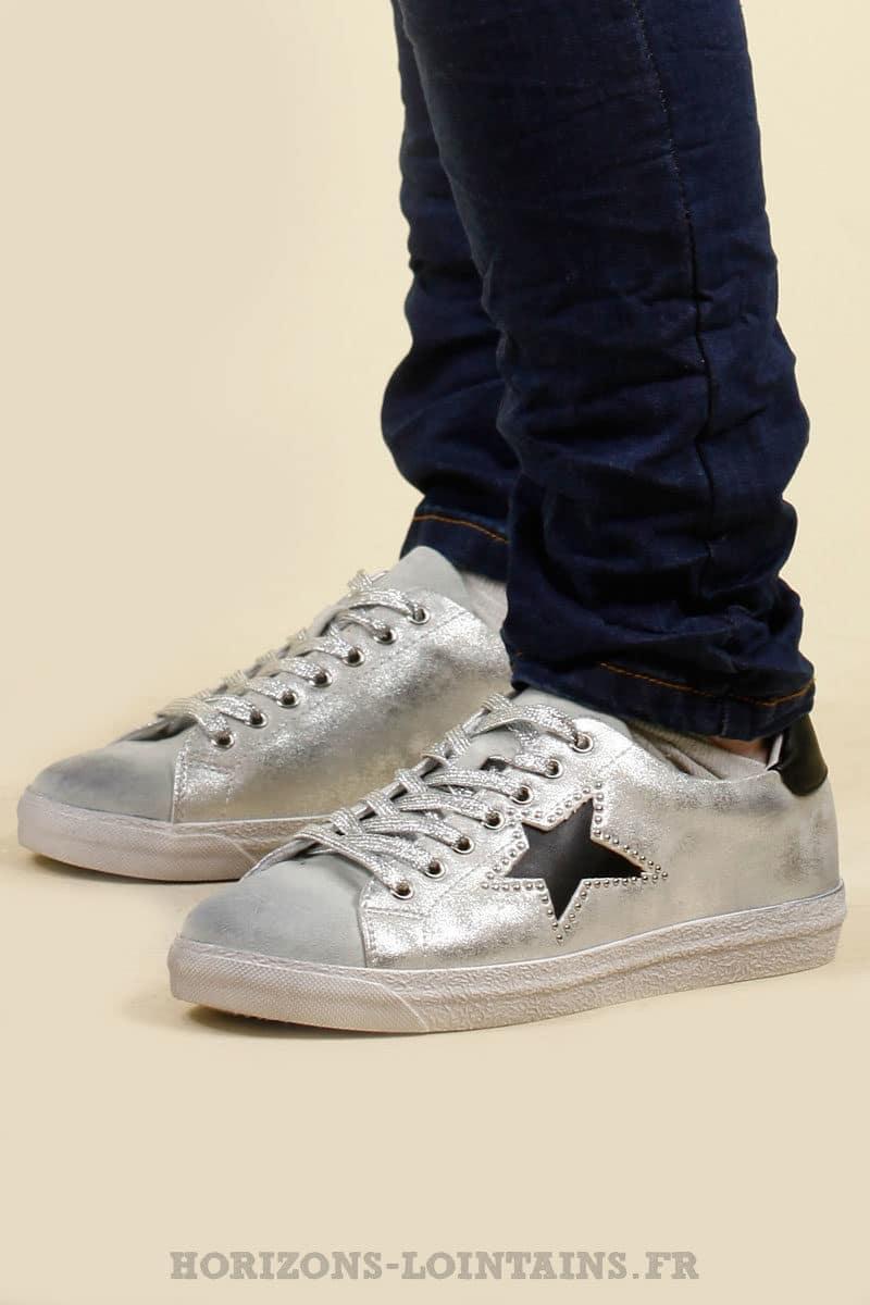 sneackers baskets argentée étoile noire chaussure vintage