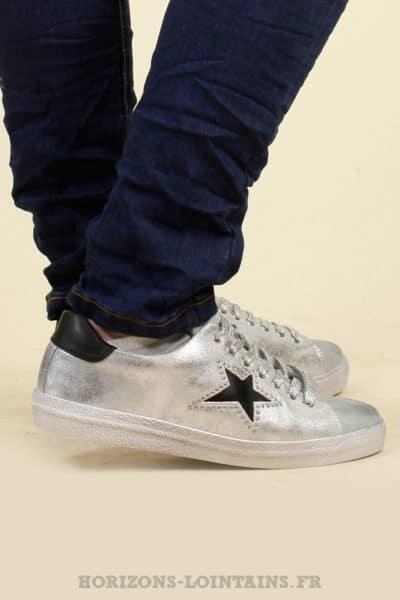 sneackers baskets argentée étoile noire strass chaussure vintage