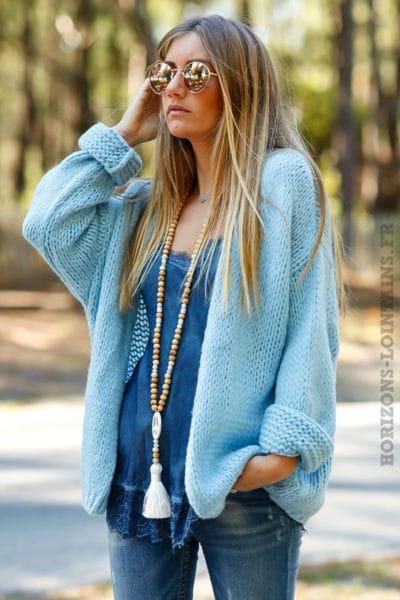 Gilet bleu ciel grosses mailles ample confortable vêtement femme horizons lointains 011