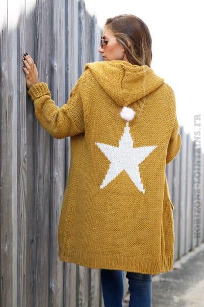 Gilet-long-moutarde-grosses-mailles-à-capuche-avec-étoile-dans-le-dos--b23