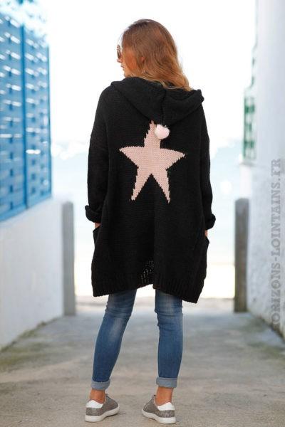 Gilet-long-noir-grosses-mailles-à-capuche-avec-étoile-dans-le-dos-b23