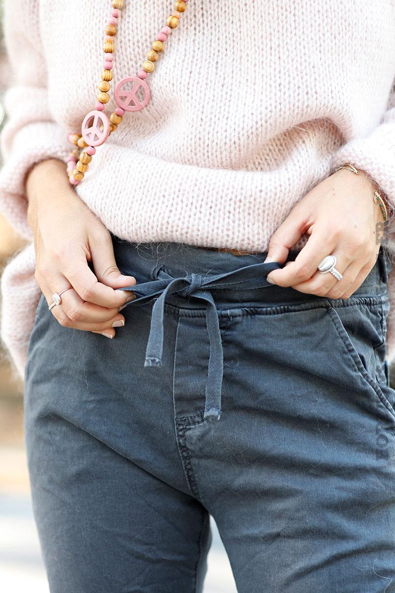 Pantalon gris foncé ceinture lacet - Horizons Lointains 69c12532512