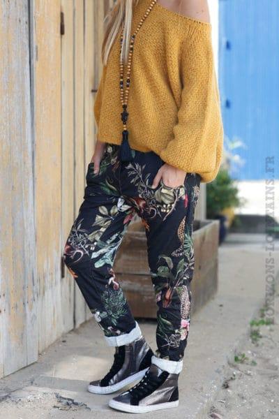 Pantalon-confort-imprimé-tropical-fond-noir-b46