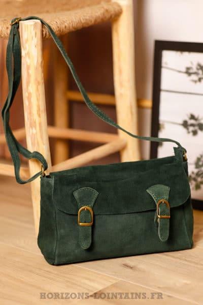 Petit sac cartable croûte cuir velours couleur vert foncé