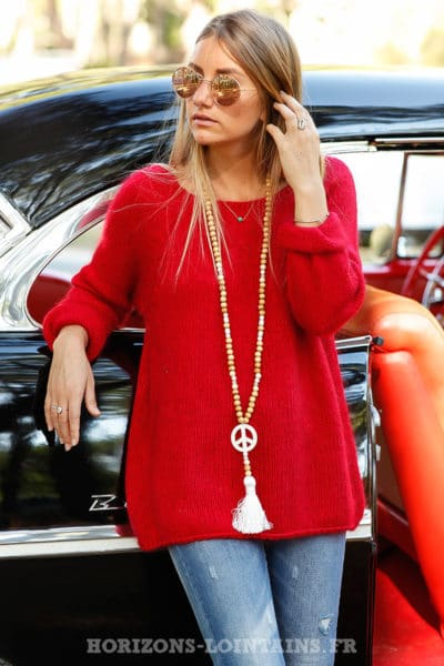 Pull rouge basique col rond vêtement automne hiver look moderne top B211
