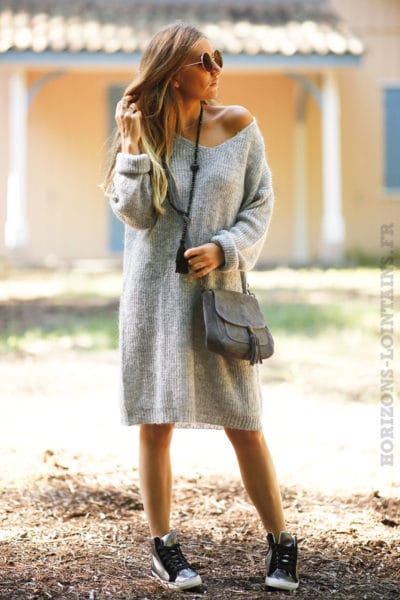 Robe-pull-gris-col-rond-mailles-chaudes-B78