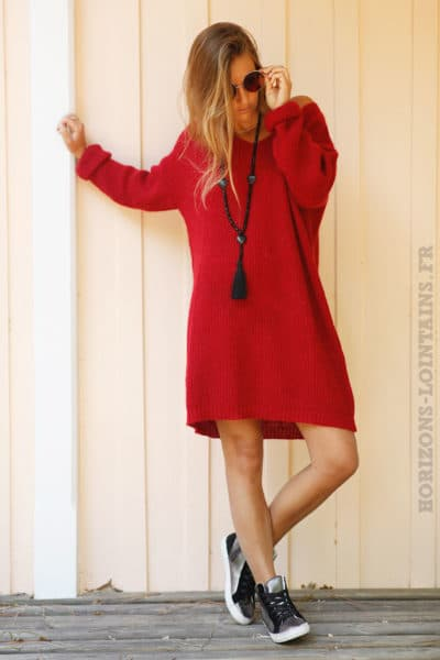 Robe-pull-rouge-col-rond-mailles-chaudes-B78