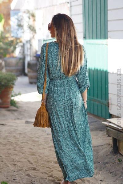 Robe-verte-longue-à-pois-b72