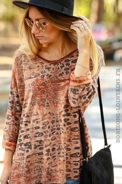 Tshirt camel foncé terracotta naunces marrons imprimé serpent dos look rock femme B210