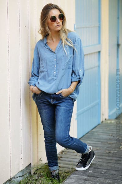 bb8839aa084 ... Tunique-bleu-jean-imprimé-petite-fleurs-b196 ...