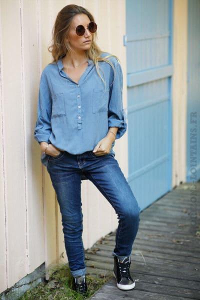 Tunique-bleu-jean-imprimé-petite-fleurs-b196