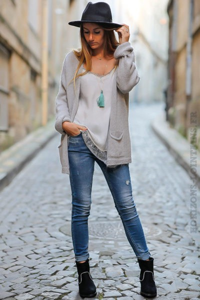 gilet gris clair mailles chaudes vêtements femme chauds look moderne