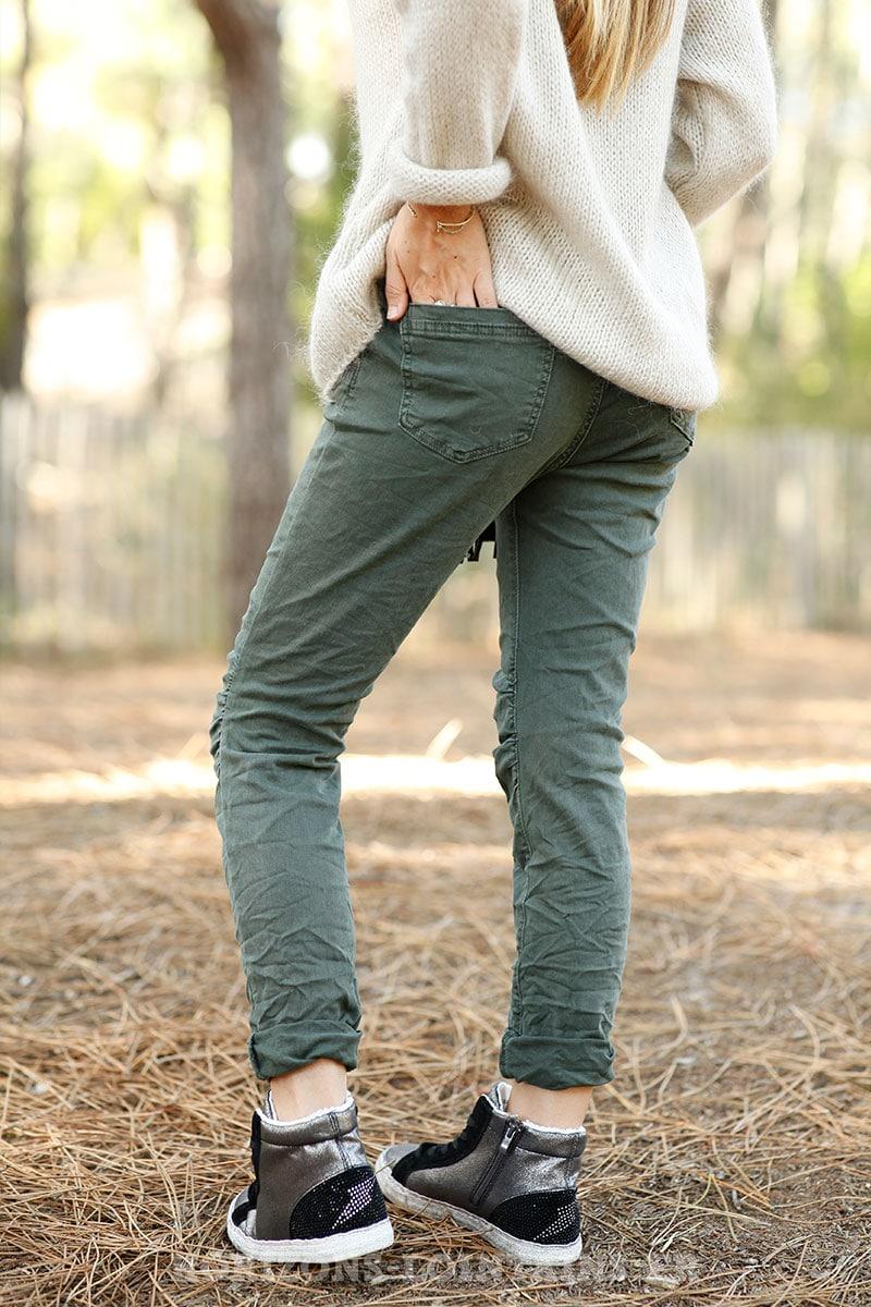jean kaki foncé stretch ceinture agréable pantalon confortable look B034 -  Copie d5966c47fc6