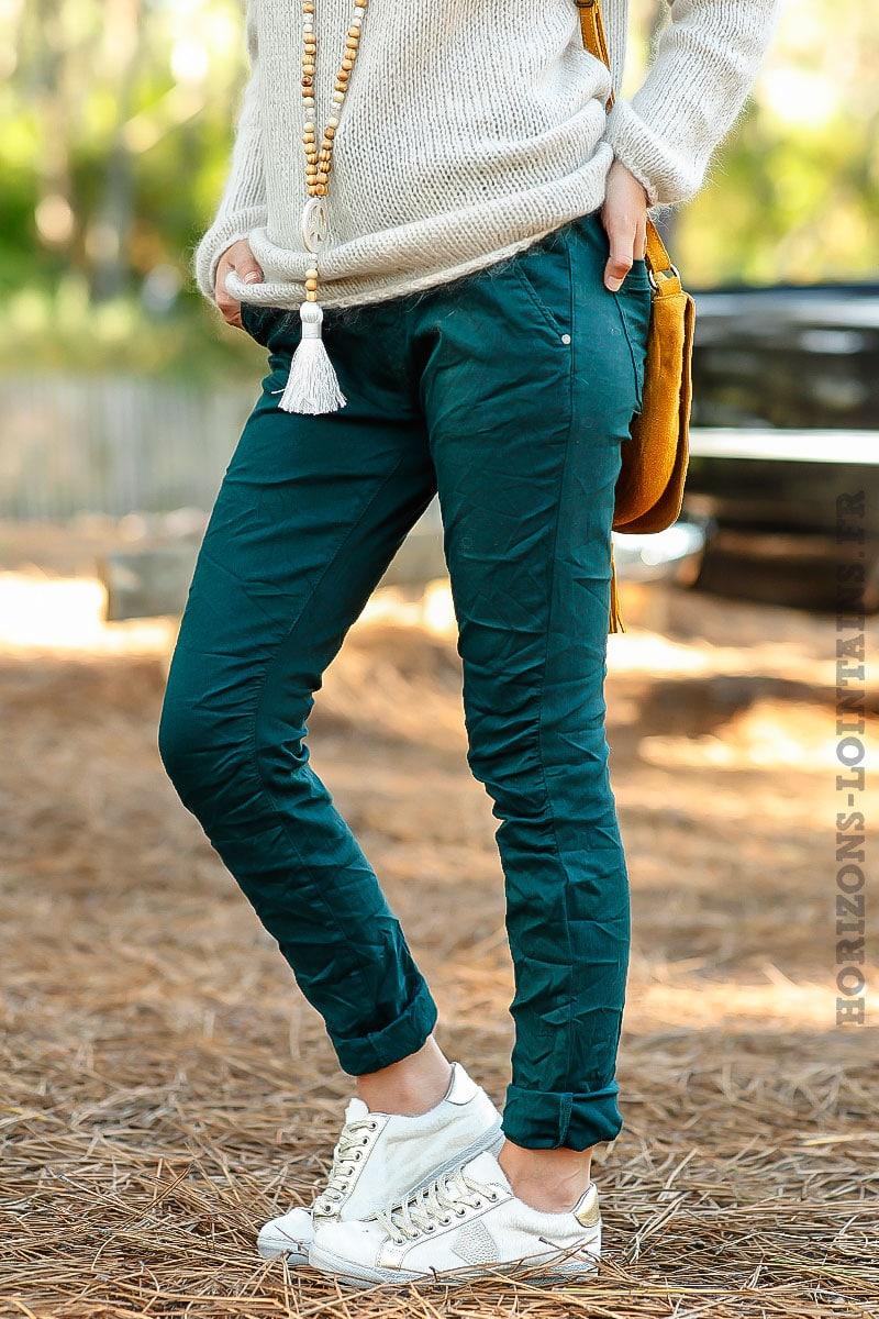 554e270595dd jean vert foncé stretch agréable pantalon confortable ceinture réglable  face B034