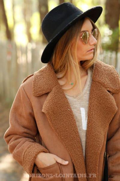 manteau camel marron clair effet peau retournée confortable chaud look moderne B026
