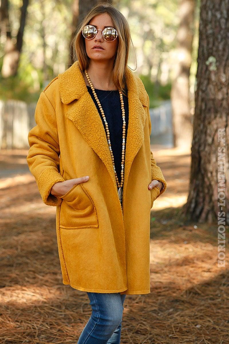 Manteau hiver femme jaune