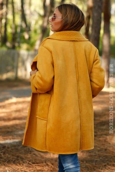 manteau jaune moutarde effet peau retournée confortable manteaux femme chaud parfait hiver B026