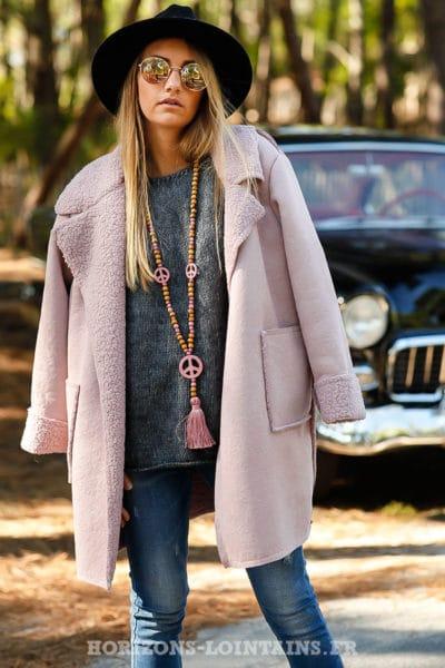 manteau rose effet peau retournée confortable chaud détail col fourré B026
