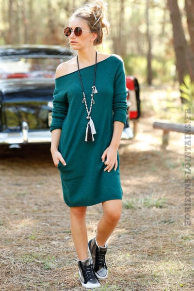 robe pull courte avec poches couleur vert foncé B073