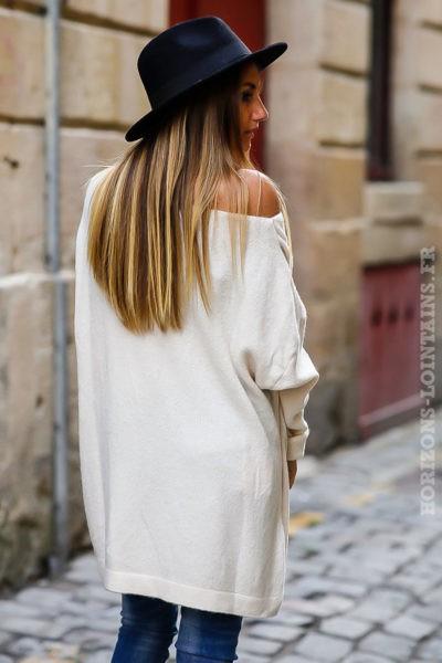 robe pull femme oversize long ample écru blanc cassé col bateau idée tenue dos