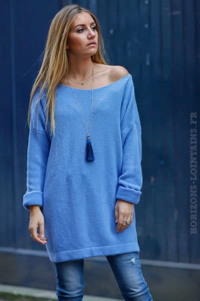 robe pull femme oversize long ample bleu col bateau look confortable dos