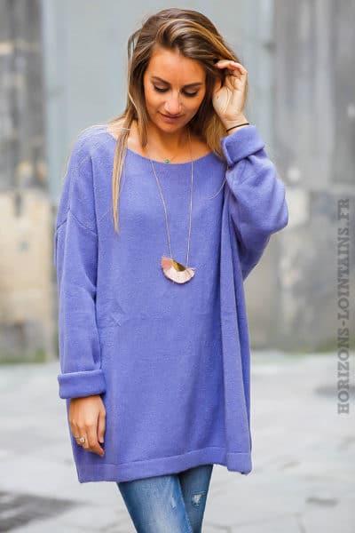 robe pull femme oversize long ample bleu lavande mauve violet col bateau matière