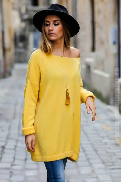 robe pull femme oversize long ample jaune col bateau idée tenue matière