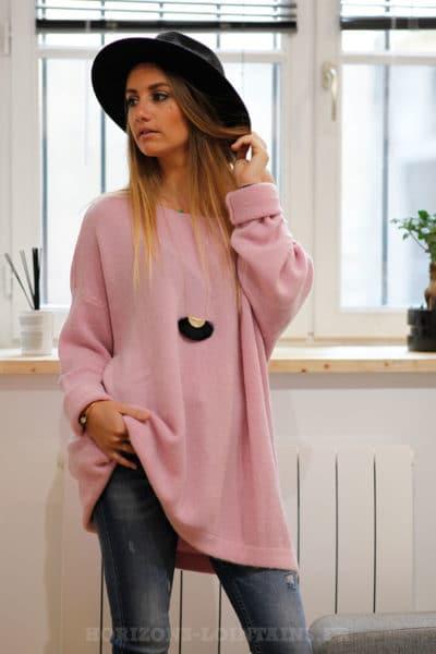 robe pull femme oversize long ample rose col bateau look moderne B208