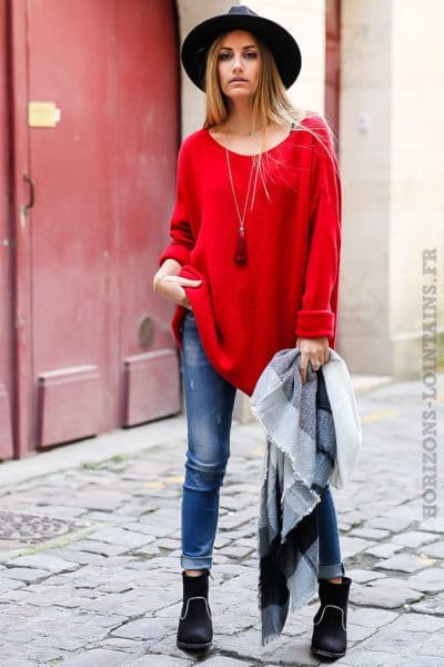 robe pull femme oversize long ample rouge col bateau confortable.jpg