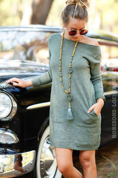 robe pull verte courte avec poches couleur vert kaki B073
