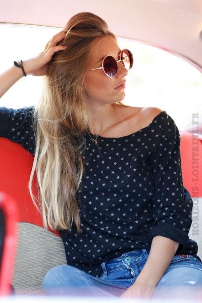 tee shirt manches longues noir motifs petites étoiles blanches B202