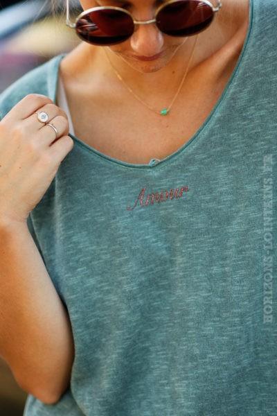 tee shirt manches longues vert détail message amour col rond B202