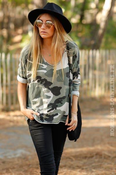 top beige kaki manches longues imprimé camouflage camo army teeshirt vêtement femme B204