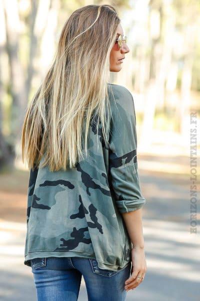 top kaki manches longues imprimé camouflage camo tee shirt femme B204