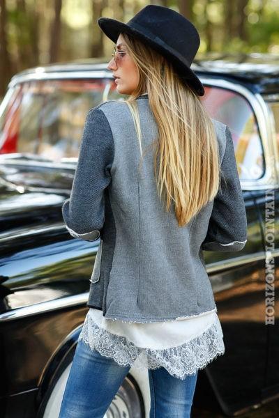 veste blazer gris foncé style vintage empiècements coudes look moderne rock B020