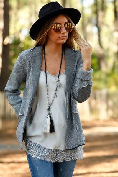veste blazer gris style vintage empiècements coudes look femme moderne rock B020
