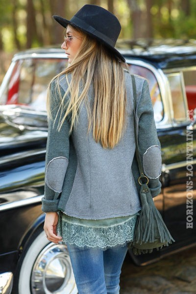 veste blazer kaki gris vert style vintage empiècements coudes look moderne B020